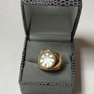 Lalique Fleur Clear Crystal Ring